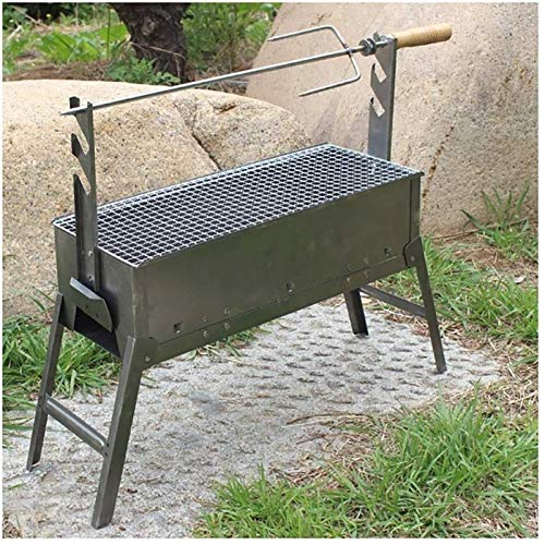 SHUMEISHOUT Portable Foldable and portable outdoor charcoal bbq Fire Pit Barbecue Grill Bonfire Table BBQ Lamb Leg Barbecue Bonfire Table Manually Rotating Stainless Steel (Size : 60 * 20 * 33.5CM)