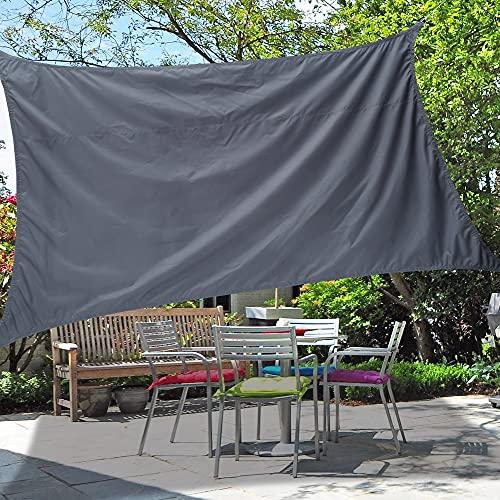 ODOMY Sonnensegel,Sonnenschirm,Sonnenschutz aus reißfestem Oxford-Tuch Kunststoff, wetterbeständiger UV-Schutz, luftdurchlässig, Garten, Balkon, Terrasse, Camping, rechteckig,2.5m Seile,2 * 3M (Grau)