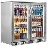 Interlevin PD20H SS - Enfriador de bar y mostrador refrigerado con pantalla de acero inoxidable 900 x 900 x 520 (alto) 210 l x 520 (profundidad)