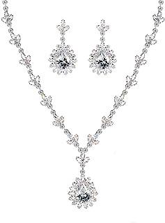 Beydodo Dangle Earring Wedding Wedding Earring Sets for Bridesmaids Pear and Oval Cut Cubic Zirconia