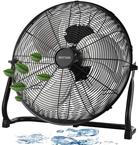 Bodenventilator | Ø46 cm | 102 m³/min Luftdurchsatz | 1.250 U./min | 3 Geschwindigkeitsstufen | Power Windmaschine | Luftkühler | Standlüfter | Raumkühler | Standventilator