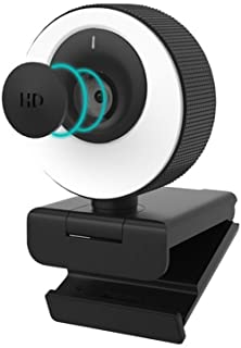 1080P 60FPS Webcam with Microphone, 2021 COSHIP Computer Camera with Ring Light, Privacy Cover, Advanced Auto-Focus, Adjus...