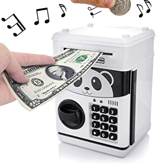 GoodsFederation Kids Electronic Password Piggy Money Bank ATM Savings Box with Code Lock,Mini Cartoon Panda Cash Coin Can Box with Voice Prompt & Music,Deposit Machine for Christmas Birthday Gifts