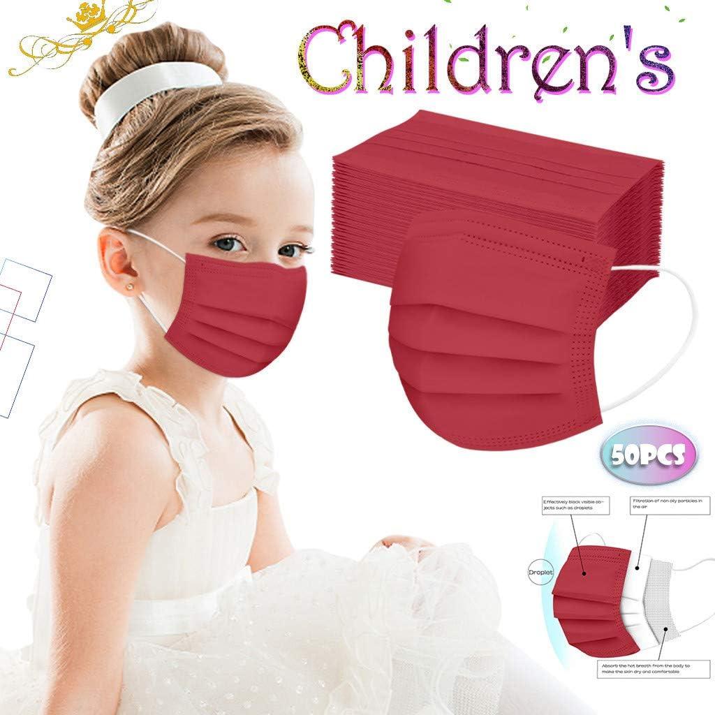 50 Stück Kinder Einweg 3-lagig,Face Shield für Kinder Children, mit süßem Dinosaurier-Druckmuster, Fashion Outdoor Elastic Ear Loop Face Bandanas Rot