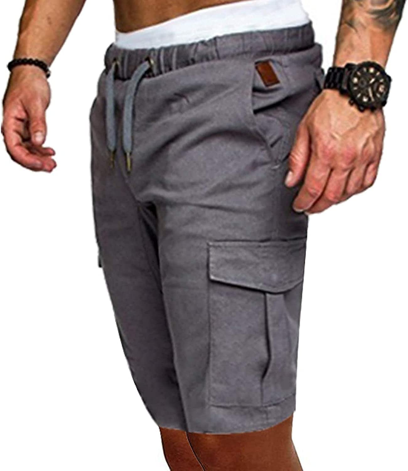 Men's Stitching Multi-Pocket Cargo Shorts Solid Color Casual Simple Fashion Light Grey