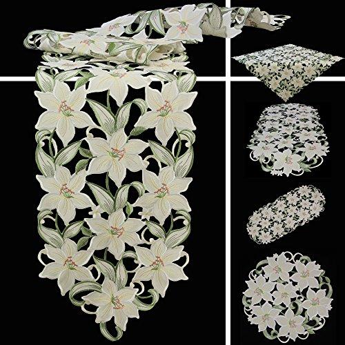 Quinnyshop Weiße Lilie Stickerei Tischdecke Tischläufer ca. 35 x 70 cm Oval Polyester, Weiß Grün