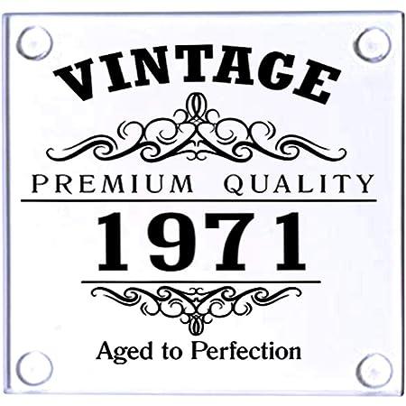 Vintage 1971 50th Birthday Glass Coaster