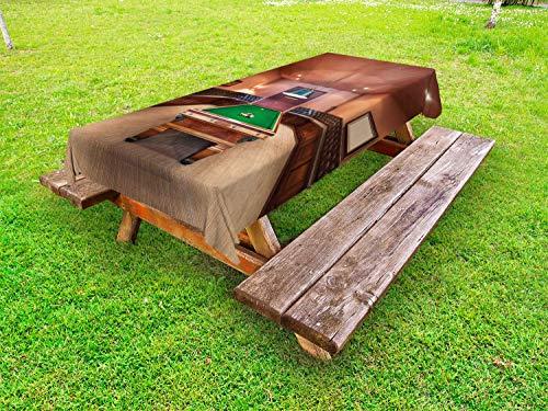 ABAKUHAUS Modern Outdoor-Tischdecke, Billardtisch Billard, dekorative waschbare Picknick-Tischdecke, 145 x 210 cm, Zimt Braun Grün