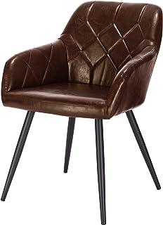 EUGAD Pack de 1 Sillas de Comedor Vintage Diseño de Cuero Sintético Sillas Nórdicas Moderna Silla de Cocina Salón Dormitorio Conferencia Marrón Oscuro