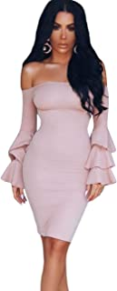 Maketina Women's Ruffle Long Sleeve Off Shoulder Club Party Midi Bodycon Dress
