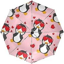 Travel Umbrella Windproof,Penguin Love Black Glue Anti UV Coating,Compact Folding Umbrellas Auto Open Close