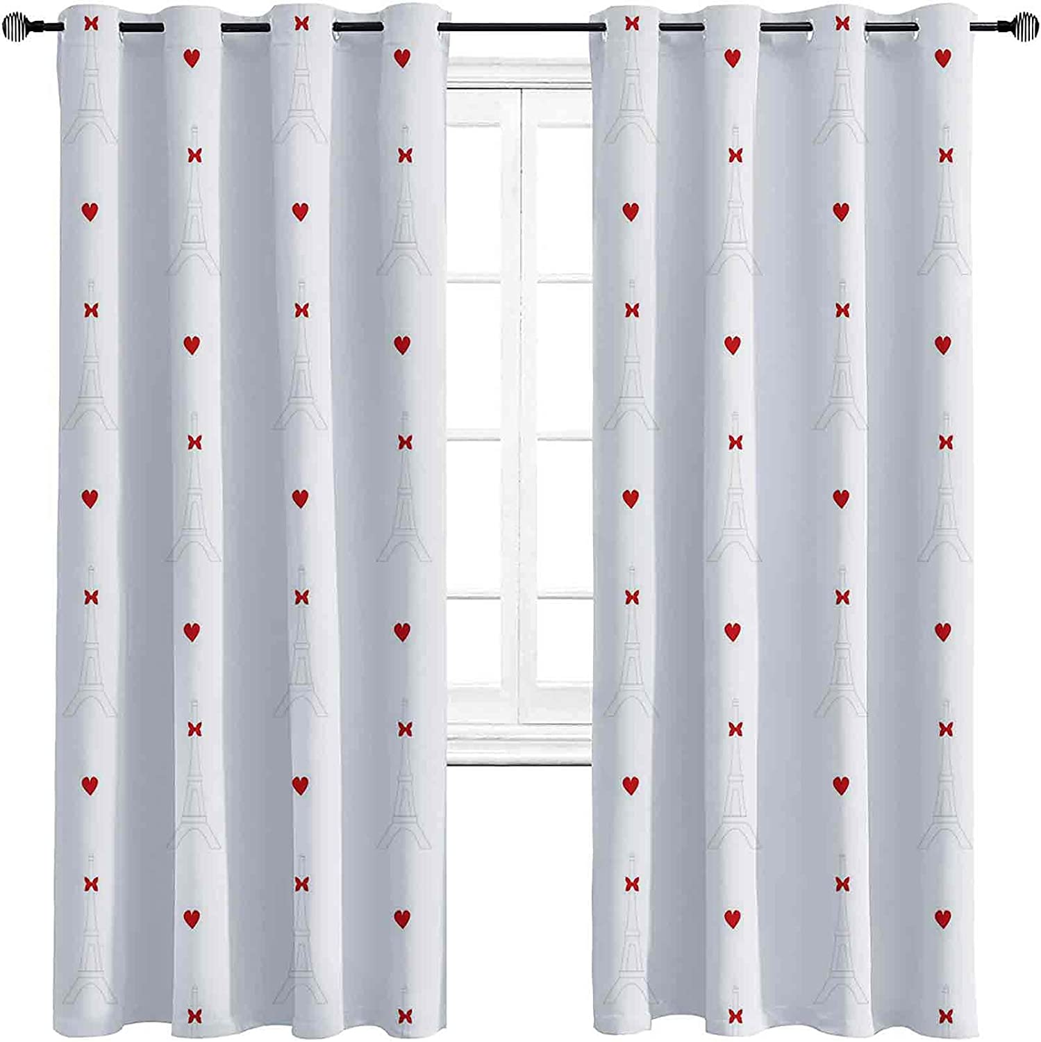 Eiffel Blackout Curtains Max SEAL limited product 65% OFF with Grommets Simplistic Cute D darken