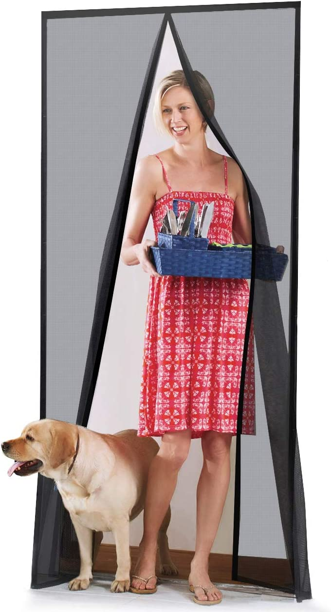 """Homitt [Upgraded Version] Magnetic Screen Door with Durable Fiberglass Mesh Curtain and Full Frame Hook & Loop Fits Door Size up to 39""""x83"""" Max- Black - -"""