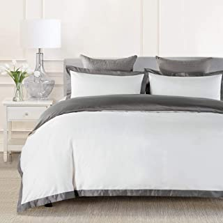 JOHNPEY Duvet Cover Queen - 1000TC Egyptian Cotton Comforter Cover Set/Bedding Set(1 Duvet Cover + 2 Pillow Shams)- Button Closure(Gray/White)