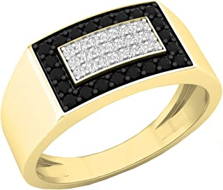 Dazzlingrock Collection 0.45 Carat (ctw) 10K Gold Round Black & White Diamond Men's Flashy Hip Hop Pinky Ring 1/2 CT