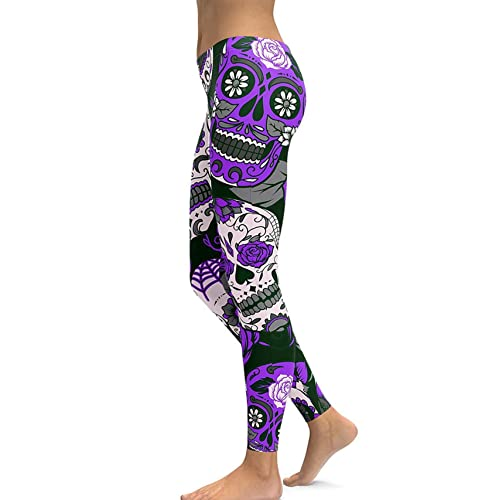 5d8936f99 Women s Sugar Skull Printed Leggings Brushed Buttery Soft Ankle Length  Tights