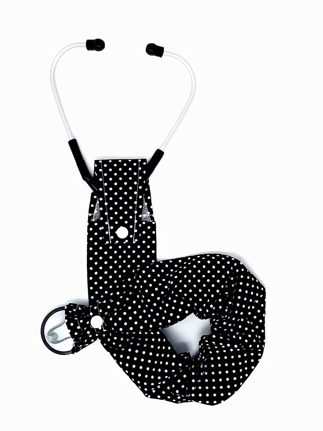 Stethoscope Cover Snap Bottom Black with Polka Dot Nippon regular agency Max 50% OFF Small White