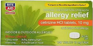 Rite Aid 24 Hour Allergy Relief, Original Prescription Strength, Cetrizine HCl Tablets, 10 mg - 120 Count