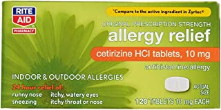 Rite Aid 24 Hour Allergy Relief, Original Prescription Strength, Cetrizine HCl Tablets, 10 mg - 120 Count