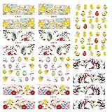 Lurrose 12 Hojas de Pascua Pegatinas de Uñas Conejo Huevo Calcomanías de Uñas Flores Manicura Pegatinas Niños Dibujos Animados Uñas Arte Pasteles