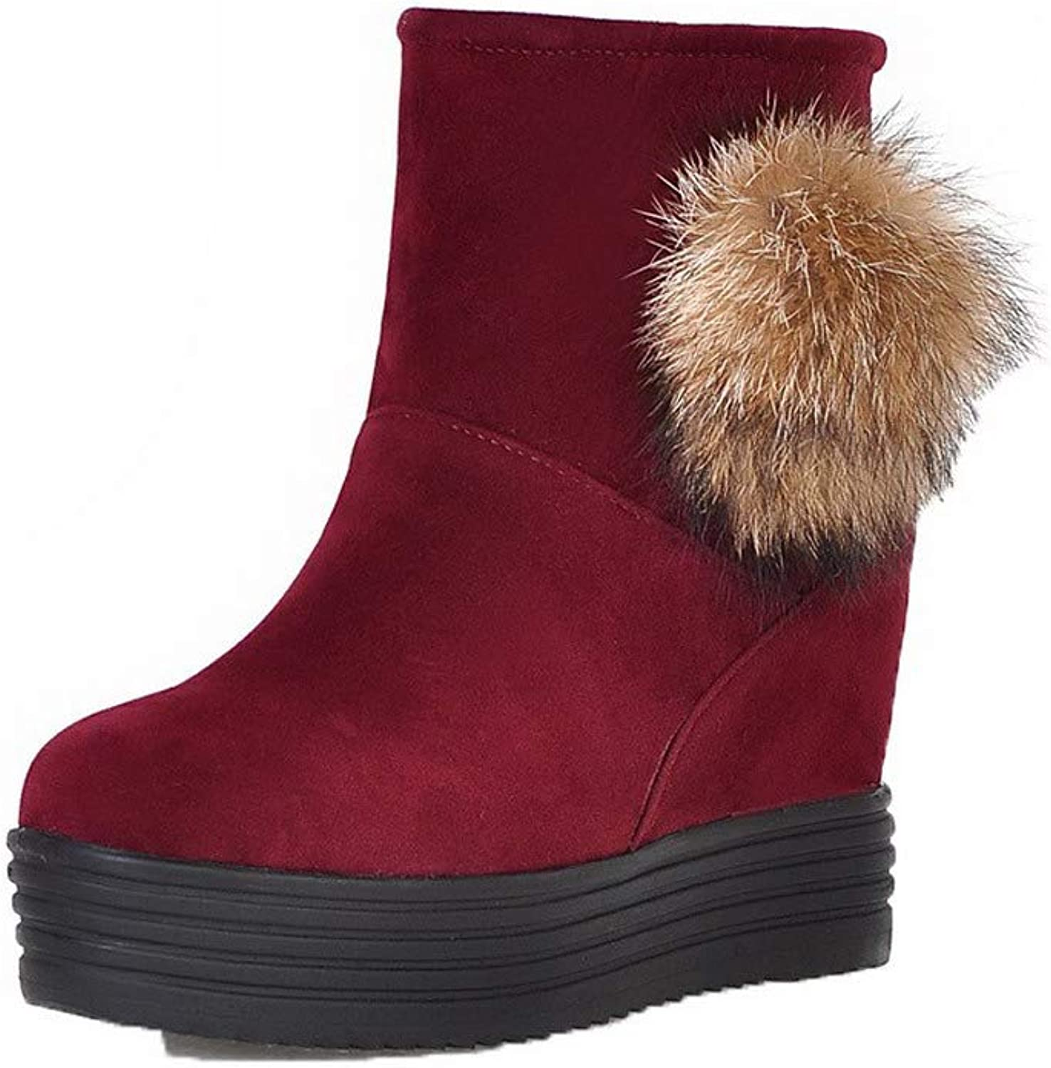 AmoonyFashion Women's Low-Top Assorted color Pull-On Round-Toe High-Heels Boots, BUSXU110439