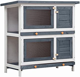 vidaXL Outdoor Rabbit Hutch 4 Doors Weather Resistant Pull Out Trays Wood Small Animal Cage Living House Bunny Habitat Grey