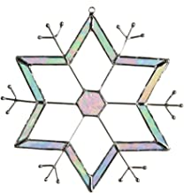 J Devlin Glass Art ORN 188 Iridescent Glass Snowflake Ornament or Window Sun Catcher Winter Christmas Decor