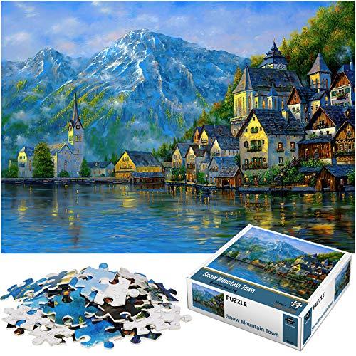 Rompecabezas Puzzle 1000 Piezas, Marvel Puzzle Paisaje Montañas Nevadas Puzzle Educa Inteligencia Jigsaw Puzzles con Marco Puzzles de Suelo para Niños Adultos