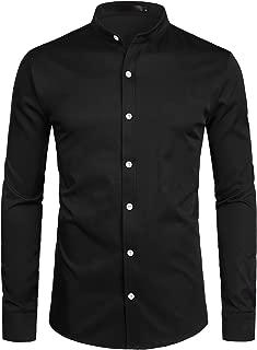 Mens Hipster Solid Slim Fit Long Sleeve Mandarin Collar Dress Shirts