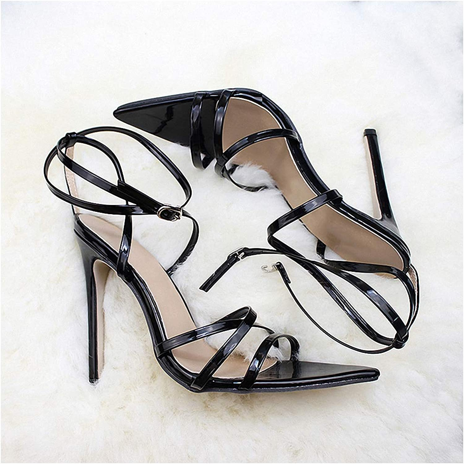 Womens High-Heeled Pumps shoes Super High 11.5cm Thin Heels Women Pumps Ankle Cross Strap Sandals shoes Woman Ladies Pointed Toe High Heels Dress Party shoes