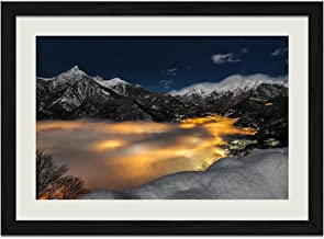 Alps Cityscape Clouds Evening Italy - Art Print Wall Black Wood Grain Framed Picture(16x12inches)