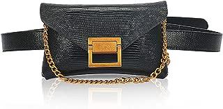 Luxury Black Leather Fanny Pack Purse Best Waist Wallet Small Designer Crossbody Belt Bag Women Handbag