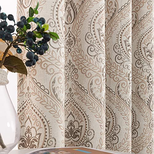 Medallion Linen Textured Curtains for Living Room 84 Inch Length Drapes Damask Pattern Flax Draperies Window Treatments Room Darkening Sliding Glass Doors for Bedroom Curtain Panels 2 Panels Taupe