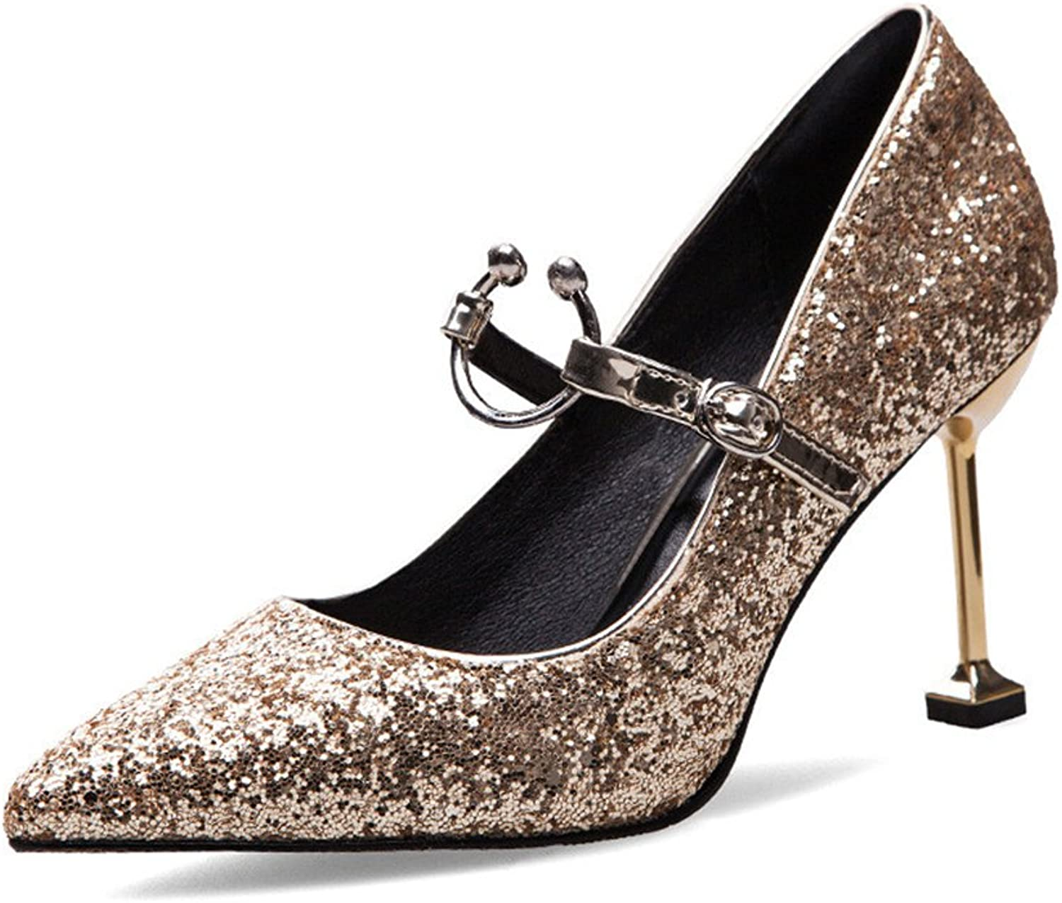 TUYPSHOES Womens Pointed Toe High Heel Pumps Slip-On Sequins Pumps Wedding Party Pumps shoes