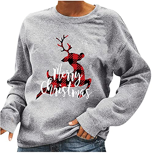 Oversized Sweatshirts Round Neck Pullover Christmas Red Plaid Reindeer Graphic Tees Long Sleeve Shirts Comfy Basic Tunic