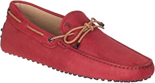 Tod's Men's Red Nubuck Leather Gommino Driving Moccasin Loafer Shoes