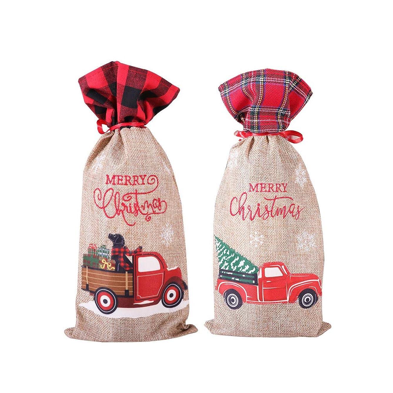 変位復活電話をかけるクリスマス装飾リネンテザートラッククリスマスワインボトルカバーワインカバーホテルファミリーテーブル設定用品35 * 15センチ(2ピース)