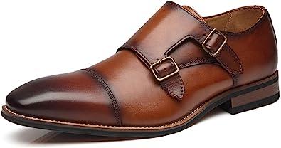 Scarpe eleganti da uomo in pelle scamosciata La Milano, scarpe con doppia fibbia in pelle scamosciata, senza lacci, mocassino Oxford, scarpe classiche e comode da uomo