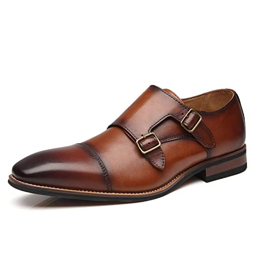 124ee6aaedd79 La Milano Mens Double Monk Strap Slip on Loafer Cap Toe Leather Oxford  Formal Business Casual