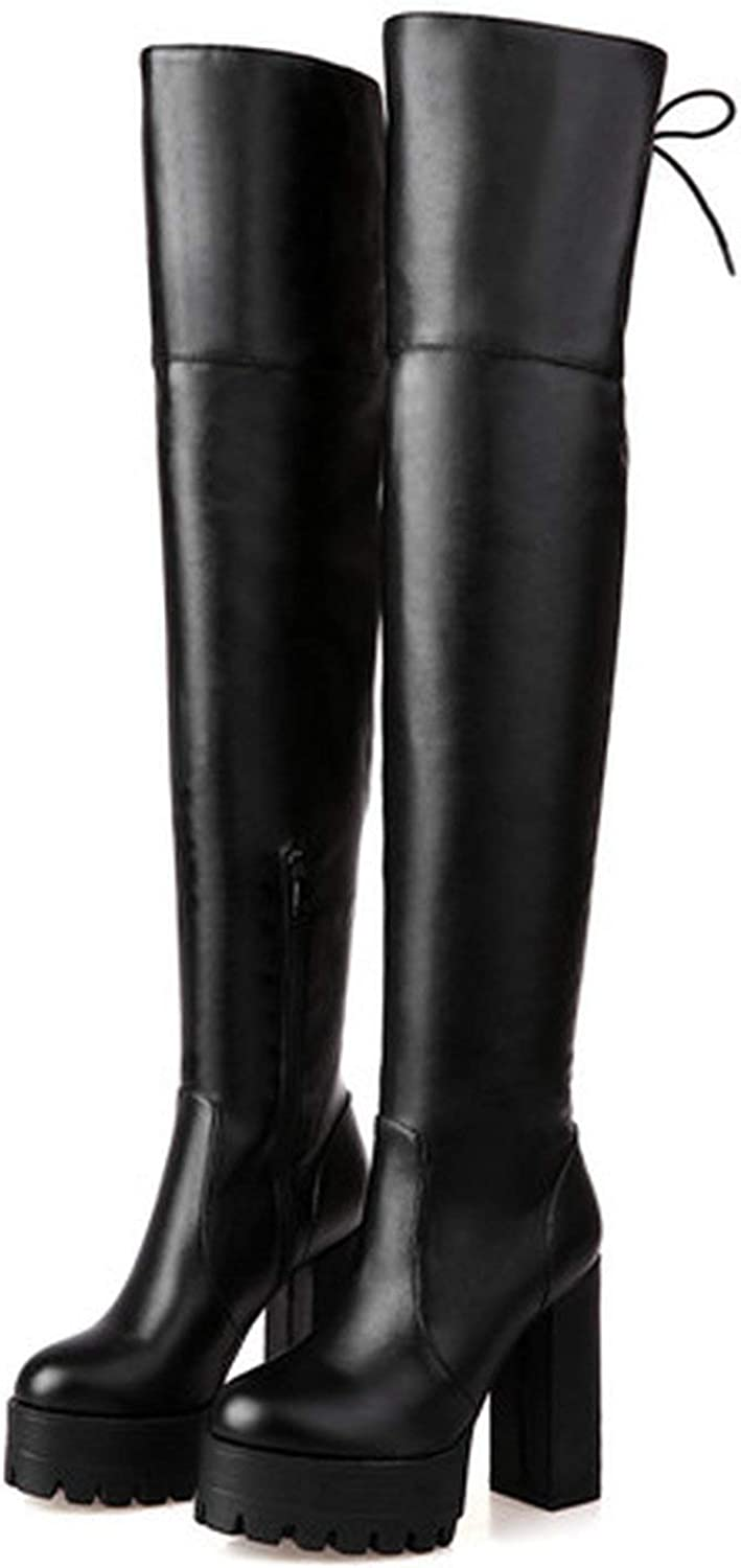 Summer-lavender Black Winter Boots for Women Autumn Over The Knee Boots Platform Chunky Heels shoes Big Size 42