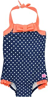 RuffleButts Baby/Toddler Girls Vintage Style Halter One Piece Swimsuit with UPF 50+ Sun Protection