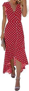 GRECERELLE Women`s Summer Floral Print Cross V Neck Dress Bohemian Flowy Long Maxi Dresse