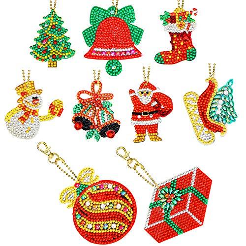 9 Pieces Christmas DIY Diamond Key Chain 5D DIY Diamond Painting Key Chain Christmas Rhinestone Arts Crafts