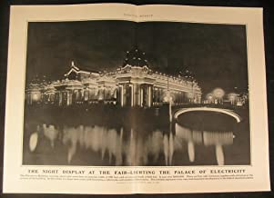 Display St Louis World Fair Palace Electricity 1904 antique historical print