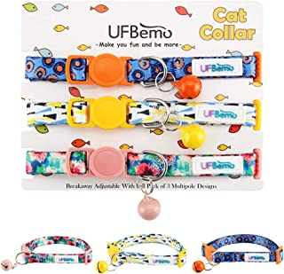 UFBemo Breakaway Cat Collar Customized Cat Collars with Bell 3 Pack Adjustable Strap with Safety Buckle and Heavy-Duty Nylon Collar for Small Dog Or Cat …