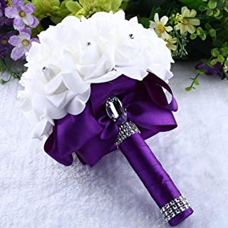 YJYdada Crystal Roses Pearl Bridesmaid Wedding Bouquet Bridal Artificial Silk Flowers (Purple)