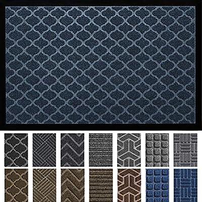 """DEXI Door Mat Front Indoor Outdoor Doormat,Small Heavy Duty Rubber Outside Floor Rug for Entryway Patio Waterproof Low-Profile,23""""x35"""",Navy Blue"""