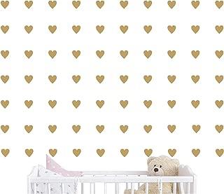 2inchx100 Pieces DIY Heart Wall Decal Vinyl Sticker for Baby Kids Children Boy Girl Bedroom Decor Removable Nursery Decoration (Matte Gold)