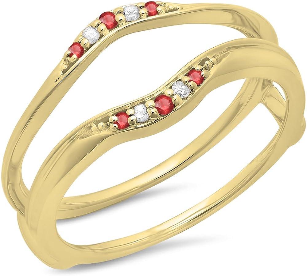 10K Gold Round Ruby /& White Diamond Ladies Anniversary Wedding Band Guard Double Ring