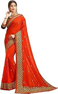 تصميم برتقالي للمرأة الهندية أزياء بوليوود نمط يتوهم العرقية ارتداء جميل ساري 6222